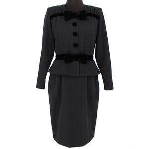 VTG Valentino Long Sleeve Velvet Bows Dress 8